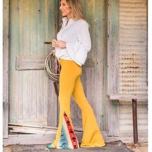 Mustard Yellow Aztec  bell bottom pants